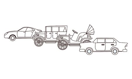 Vintage and classic cars modern vehicles in black and white vector illustration graphic design.