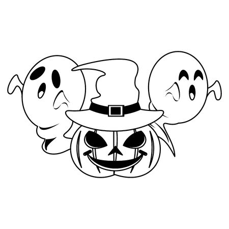 halloween october scary celebration, witch hat with ghosts and pumpkin cartoon vector illustration graphic design