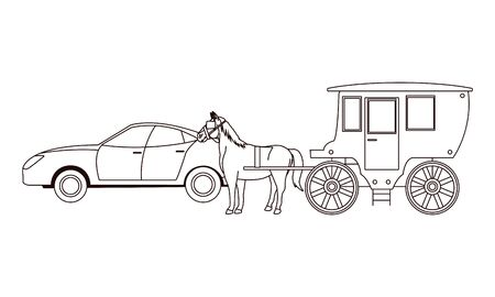 cars and antique horse carriage, vintage and retro vehicles in black and white vector illustration graphic design.