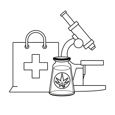 cannabis marijuana medical marijuana medicine sativa hemp oil bottle cartoon vector illustration graphic design