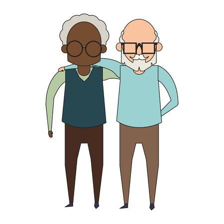 grandparents seniors old retirement grandfathers friends cartoon vector illustration graphic design