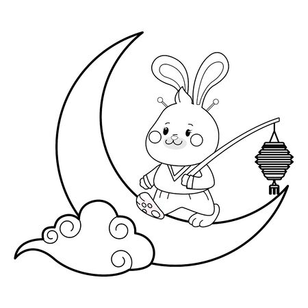 Mid autumn cute rabbit with paper lantern on moon with cloud ,vector illustration graphic design.
