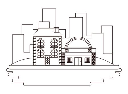 Urban buildings and city architecture over cityscape scenery background in black and white vector illustration graphic design. Stockfoto - 129532206