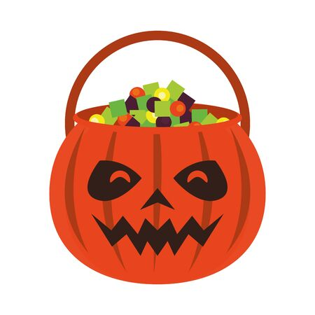 halloween october scary celebration, pumpkin candys pot cartoon vector illustration graphic design