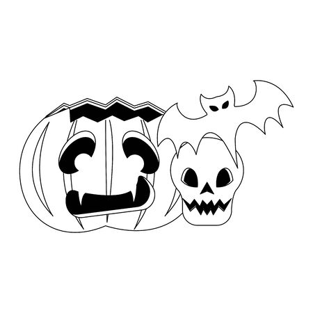 halloween october scary celebration, pumpkin with skull and bat cartoon vector illustration graphic design