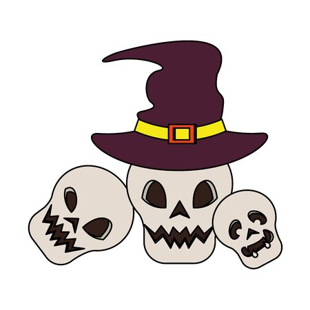halloween october scary celebration, witch hat with skulls cartoon vector illustration graphic design