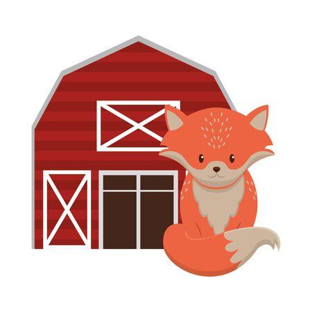 Fox and farm barn cartoon vector illustration graphic design