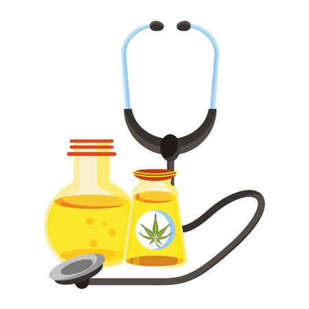 cannabis marijuana medical marijuana medicine sativa hemp oil bottles cartoon vector illustration graphic design Иллюстрация