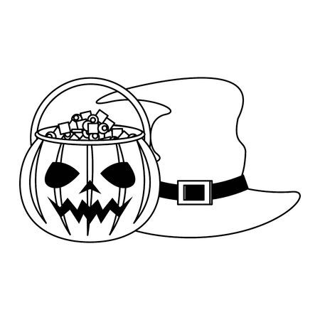 halloween october scary celebration, witch hat with pumpkin candys pot cartoon vector illustration graphic design