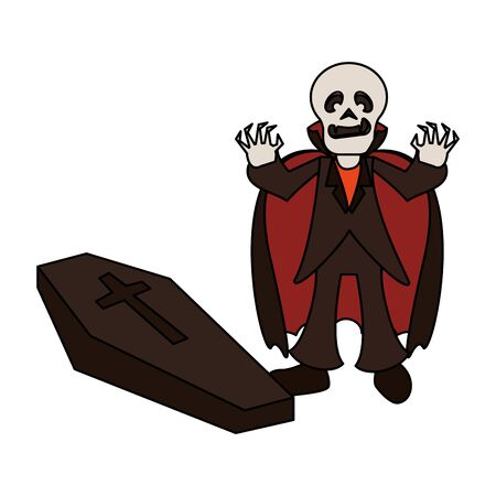 halloween october scary celebrationm skull death man vampire with stone cartoon vector illustration graphic design