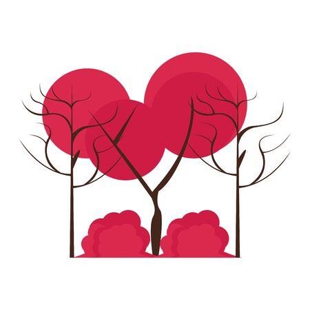 Autumn season trees and leaves nature cartoon vector illustration graphic design Çizim