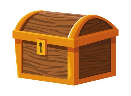 Antique wooden chest with keylock cartoon vector illustration graphic design