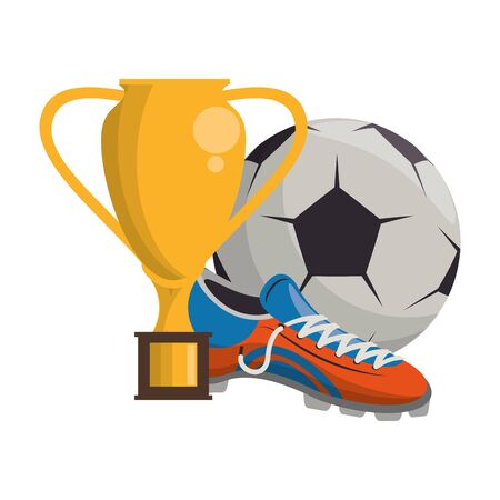 Soccer football sport game trophy cup with ball and boot vector illustration graphic design