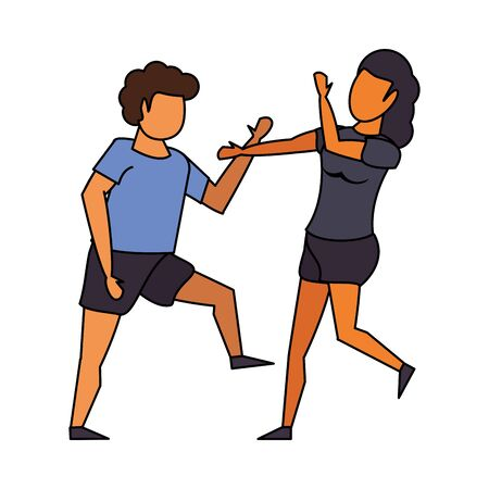 fitness sport exercise lifestyle, couple doing stretching for workout, gym and yoga training cartoon vector illustration graphic design