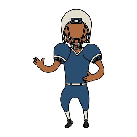 american football sport game, player champion man playing in offense position cartoon vector illustration graphic design Ilustracja
