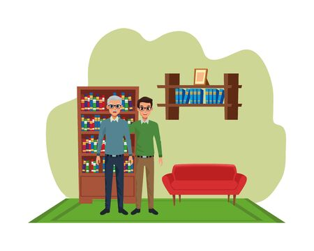 Family single father with adult son cartoon vector illustration graphic design inside home living room with sofa and library scenery ,vector illustration graphic design. Illustration