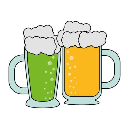 beer glasses fresh alcoholic drinks cartoon vector illustration graphic design Stock Illustratie