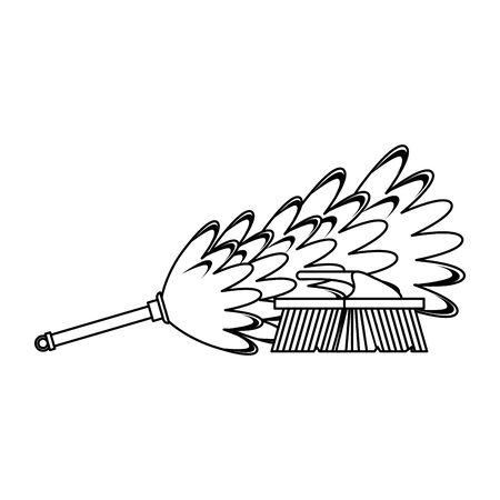 cleaning equipment and products cobweb brush and toilet brush vector illustration graphic design.