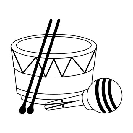 music instruments musical drum and maracas objects cartoon vector illustration graphic design Stock Vector - 129537905