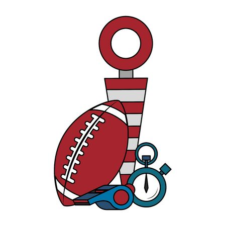 american football sport game competition equipment field objects cartoon vector illustration graphic design Archivio Fotografico - 129537997