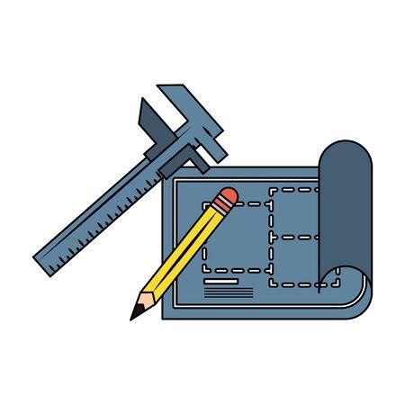 carpentry and constrution tools equipment wiith blueprint plan cartoon vector illustration graphic design