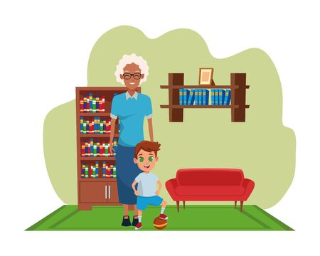 Family afro grandmother hand of with boy inside home living room with sofa and library scenery ,vector illustration graphic design. Illustration