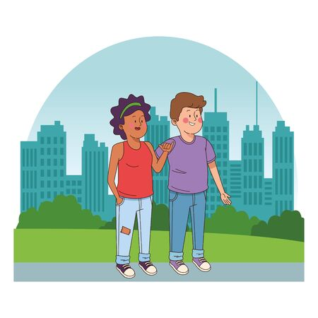 Teenagers friends boy and afro american girl smiling in the city park, urban cityscape scenery background ,vector illustration graphic design. Иллюстрация