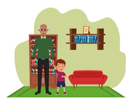 Family grandfather and little grandson smiling cartoon inside home living room with sofa and library scenery ,vector illustration graphic design.