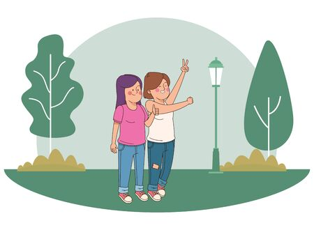 teenager friends women smiling and greeting in the park, outdoors scenery background vector illustration graphic design.