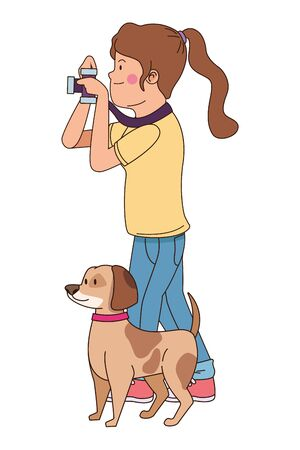 Teenager walking the dog and taking photos with camera isolated,vector illustration graphic design.