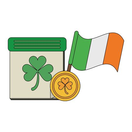 saint patricks day irish tradition ireland flag with clover calendar and coin cartoon vector illustration graphic design Ilustrace