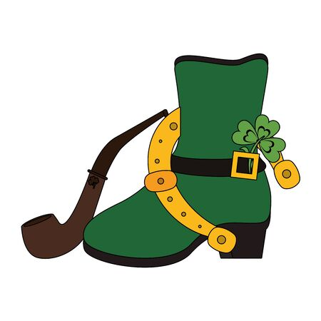 saint patricks day irish tradition green leprechaun boot with horsehoe and clover with tobacco pipe cartoon vector illustration graphic design Ilustrace
