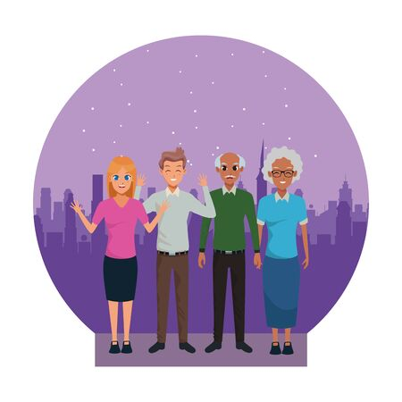 Family afroamerican grandparents and parents greeting cartoons in the city urban scenery background ,vector illustration graphic design. Stock Illustratie