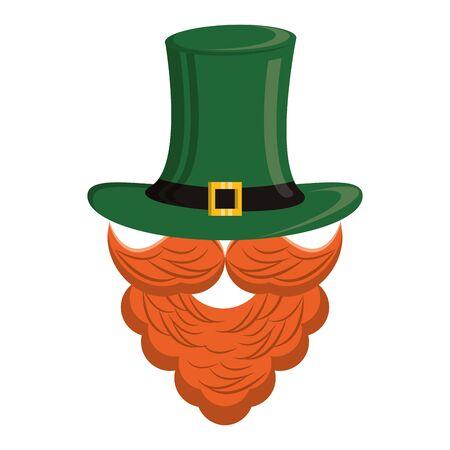 saint patricks day irish tradition green leprechaun face icon, beard with hat cartoon vector illustration graphic design