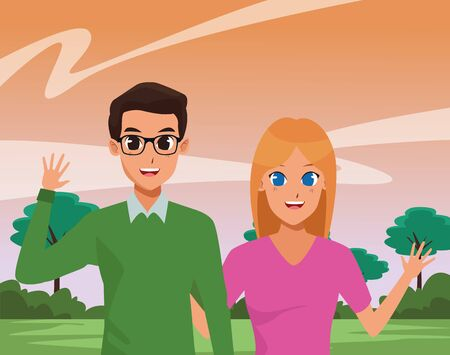 Young couple boyfriend and girlfriend smiling and greeting at park vector illustration graphic design Stock Illustratie