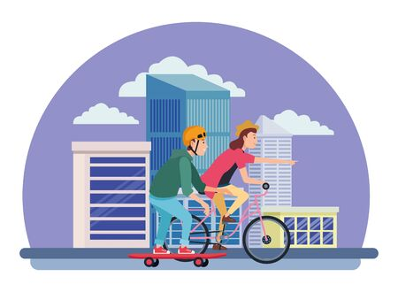 Young couple training with skateboard and bike extreme sports in the city urban buildings scenery in the city urban scenery background ,vector illustration graphic design.