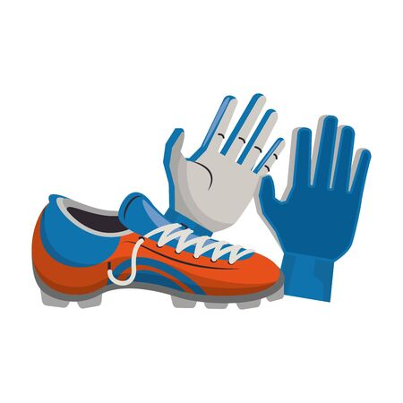 Soccer football boots and gloves sport equipment vector illustration graphic design Illusztráció
