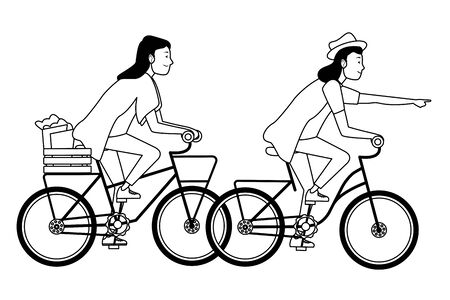 Young people riding bicycles with groceries basket cartoon ,vector illustration graphic design. Foto de archivo - 129526550