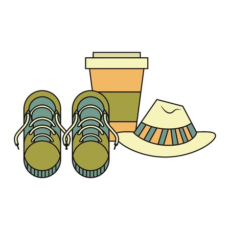 accessories for tourism and vacations and sneakers hat with coffee cup isolated symbols Vector design illustration