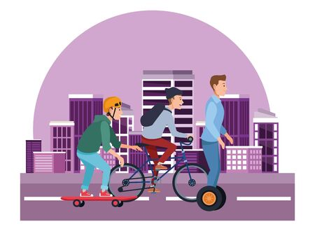 Young people riding with bikes skateboard and electric scooter in the city urban buildings scenery in the city urban scenery background ,vector illustration graphic design.