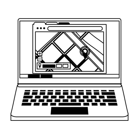 laptop technology hardware with gps location map cartoon vector illustration graphic design