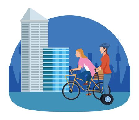 Friends riding electric scooter and bicycle cartoon in the city, urban scenery ,vector illustration graphic design.