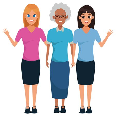 Family afro grandmother and mother with daughter vector illustration graphic design Illusztráció