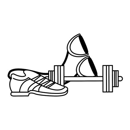 fitness sport heatlhy lifestyle, gym and healthyobjects cartoon vector illustration graphic design