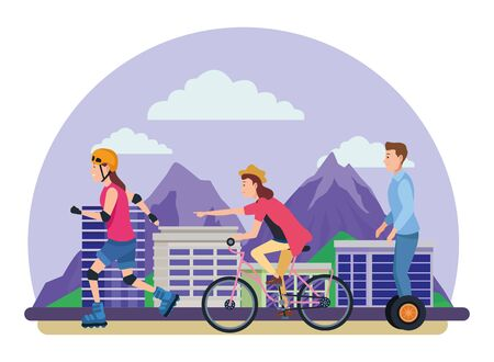 Young people riding on bikes, electric scooter and skates with accesories in the city urban buildings scenery in the city urban scenery background ,vector illustration graphic design.