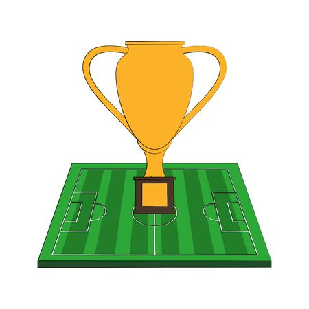 Soccer football sport game trophy cup and play field vector illustration graphic design Archivio Fotografico - 129526794