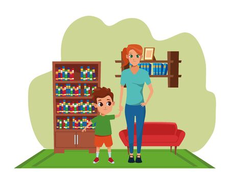 Single mother with children son cartoon inside home living room with sofa and library scenery ,vector illustration graphic design.