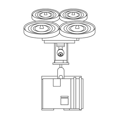 air drone remote control technology device delivery and logistic process with cardboard box cartoon vector illustration graphic design Foto de archivo - 129527220