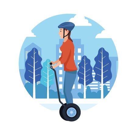 sport outdoor sportive activity, woman riding gyro scooter in city park cartoon vector illustration graphic design
