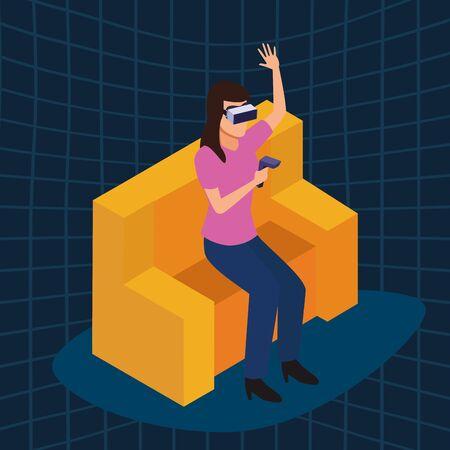 virtual reality technology, young woman living a modern digital experience with headset glassesand joystick cartoon on blue digital background ,vector illustration. Иллюстрация
